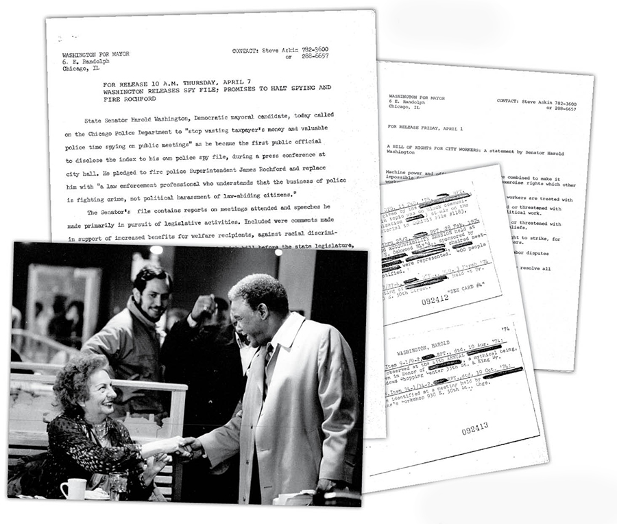 """Clockwise from far left: Askin (center) with Washington; press alert announcing the release of Washington's """"Red Squad"""" files; Washington's bill of rights for city workers; Red Squad reports written by undercover police spies"""