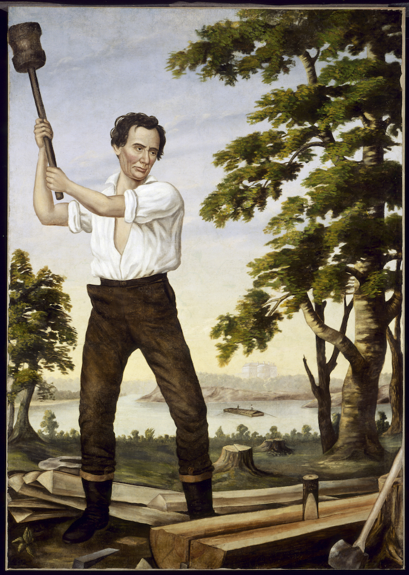 <em>The Railsplitter</em>, 1860. Republicans displayed this painting at campaign rallies. The White House looms in the distance.