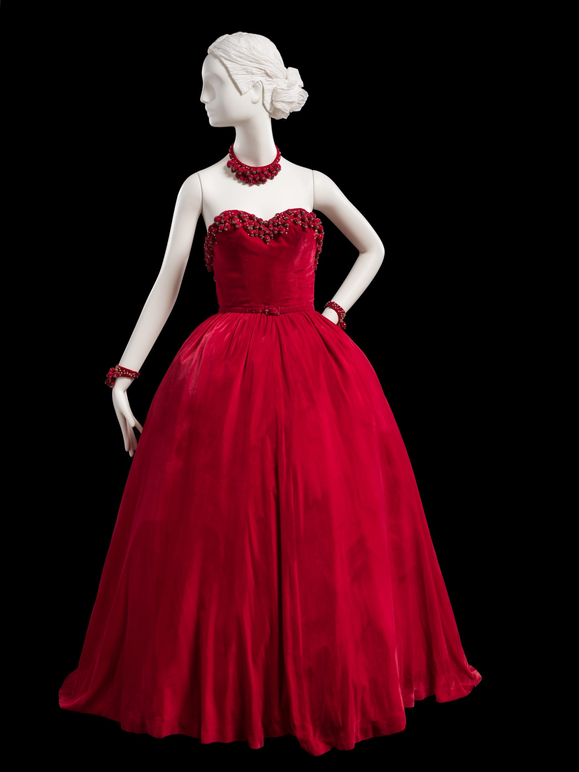 Red velvet ballgown with accessories, fall 1947