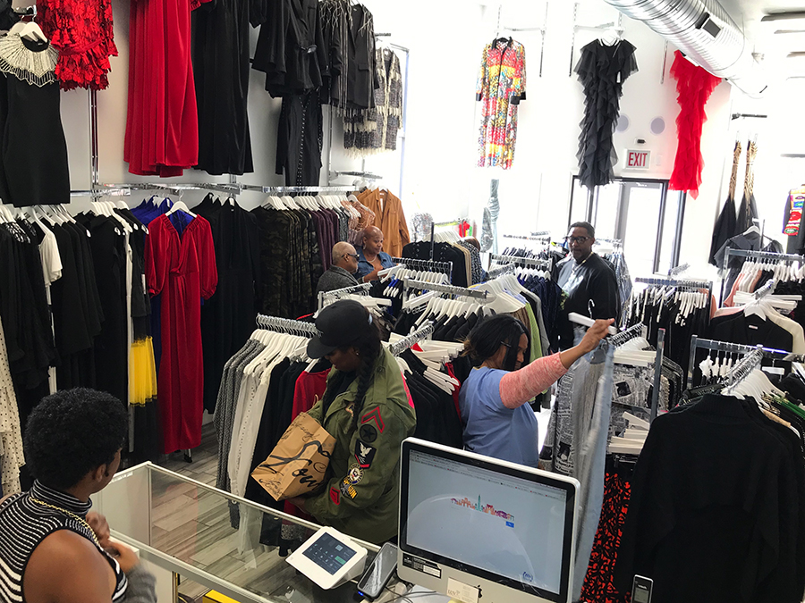 The shop is often abuzz with customers, many of them looking for special occasion wear.