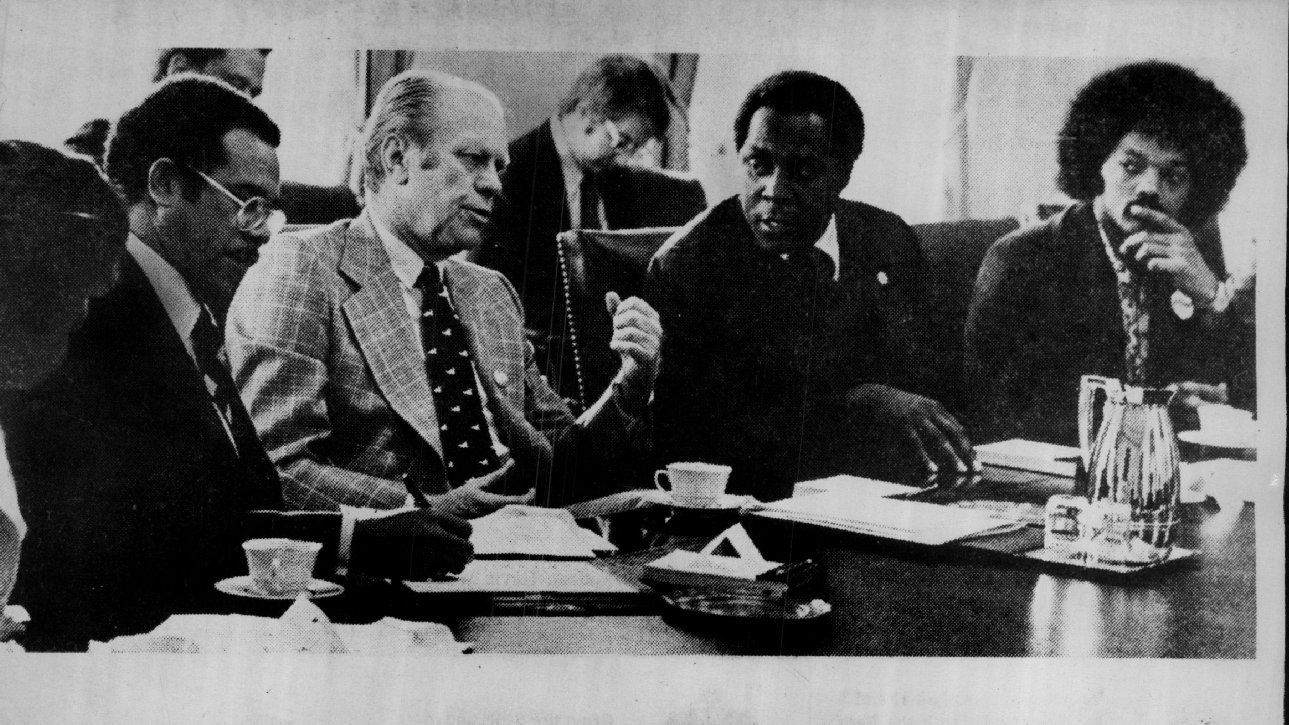 """Under President Gerald Ford, """"Negro History Week"""" became Black History Month in 1976. Back when Jesse Jackson (far right) had an Afro."""