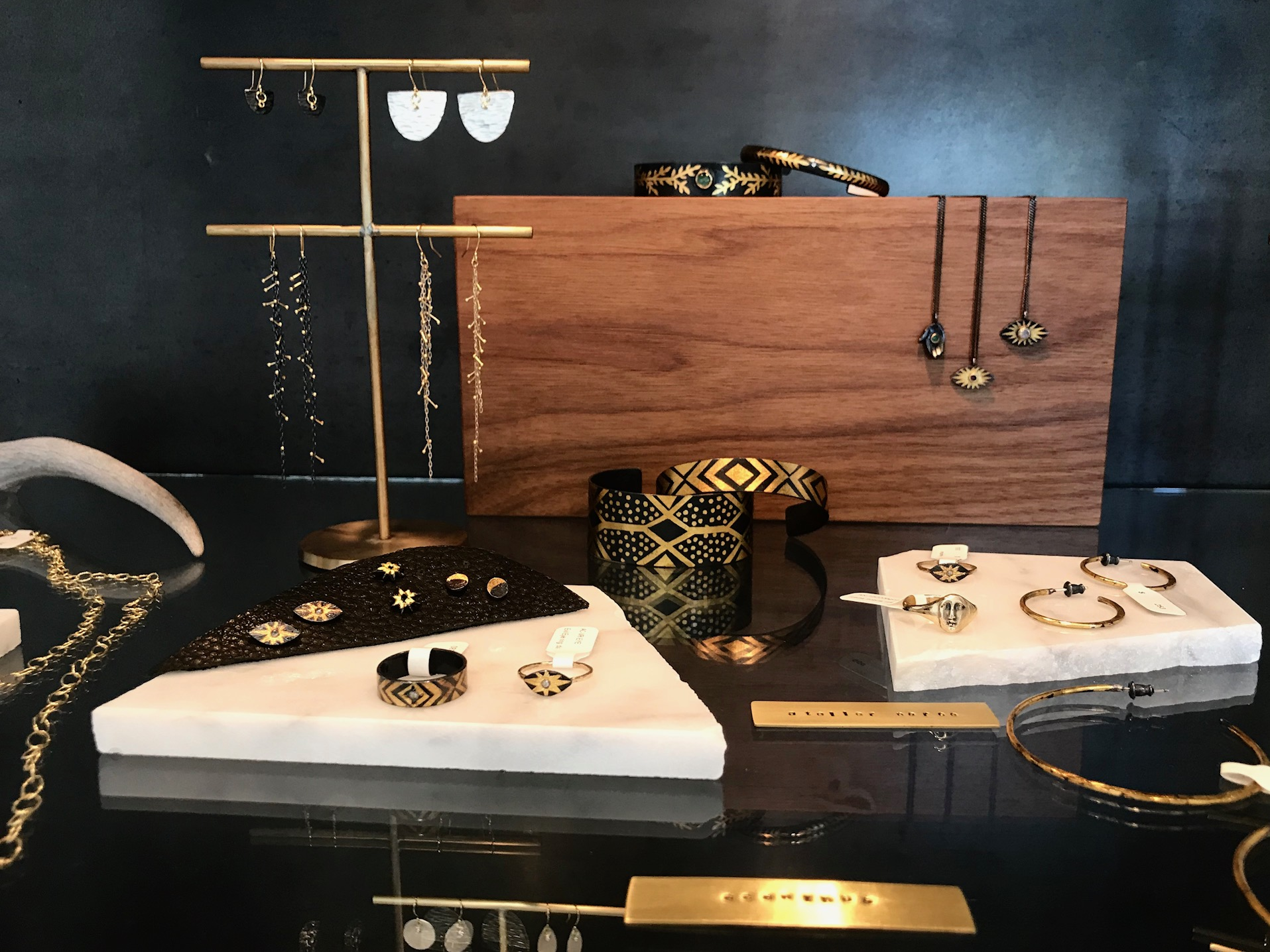 A selection of jewelry from Acanthus, Sarah McGuire, and Atelier Narcé