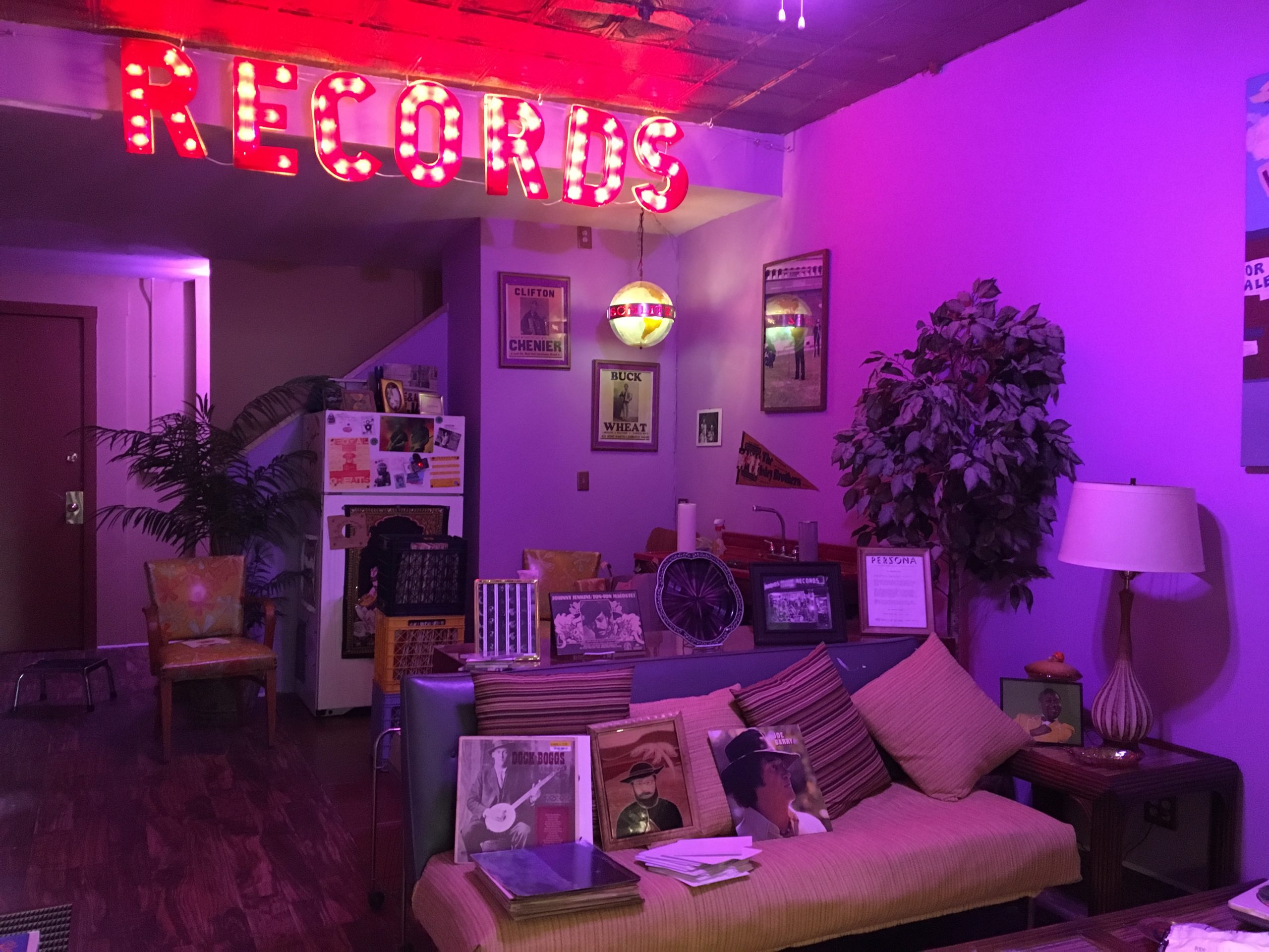 """The old Logan Hardware """"records"""" sign in Electric Jungle's back offices"""