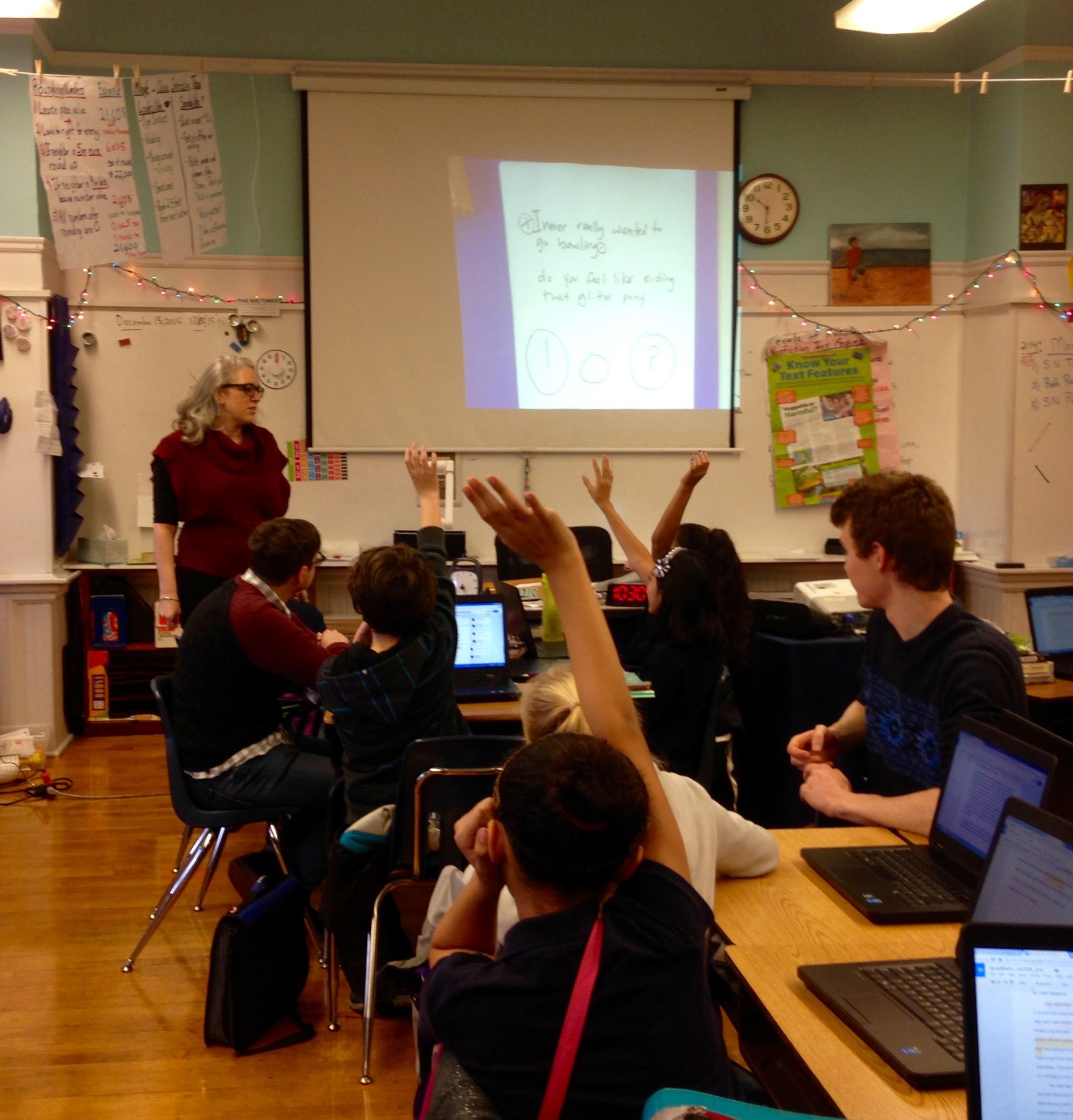 Amanda Lichtenstein leads a brief discussion of punctuation.