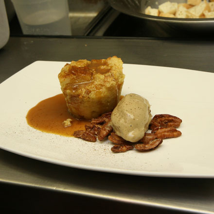 Bailey's bread pudding with coffee ice cream