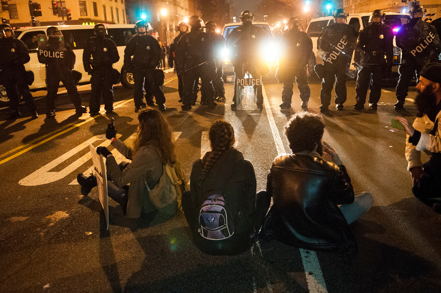 Weary protesters decided to turn the demonstration into a sit-in.