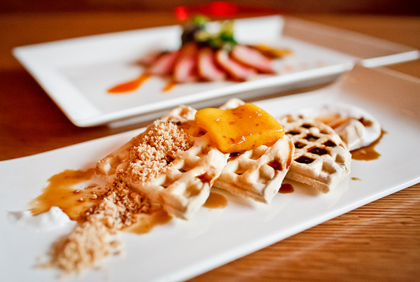 """""""Inverted"""" waffles and duck breast at Ing"""