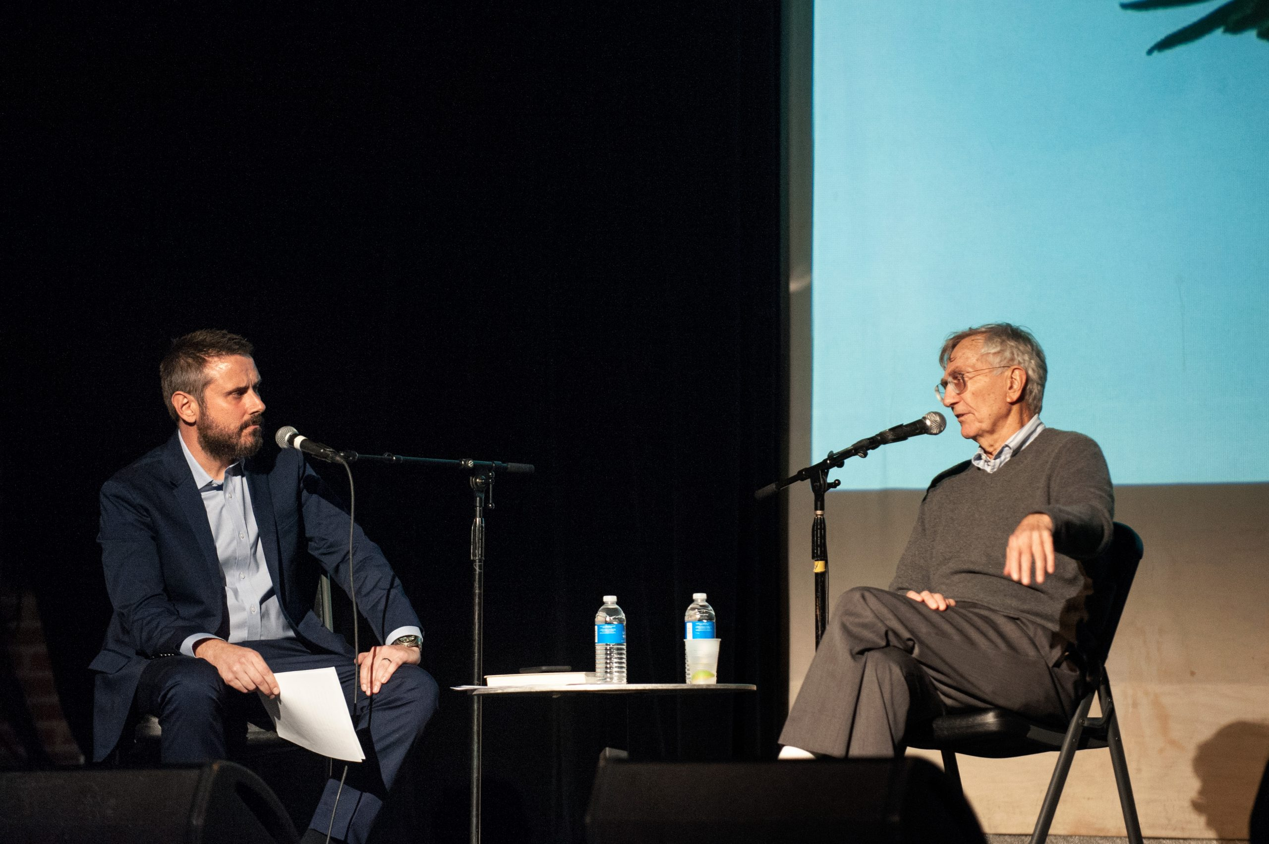 Jeremy Scahill interviews Sy Hersh at an <i>Intercepted</i> live show in Brooklyn in June.
