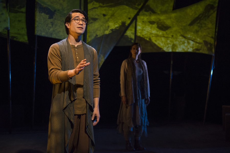 Scott Shimizu and Jennifer Cheung in Griffin Theatre Company's <i>In to America</i>
