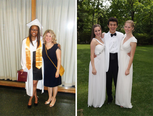 Jasmeen (left) with one of her Hirsch teachers, Amy Twardowski, after her graduation; Hayley (right) with Charlie Oh and Caroline Reedy after their graduation.