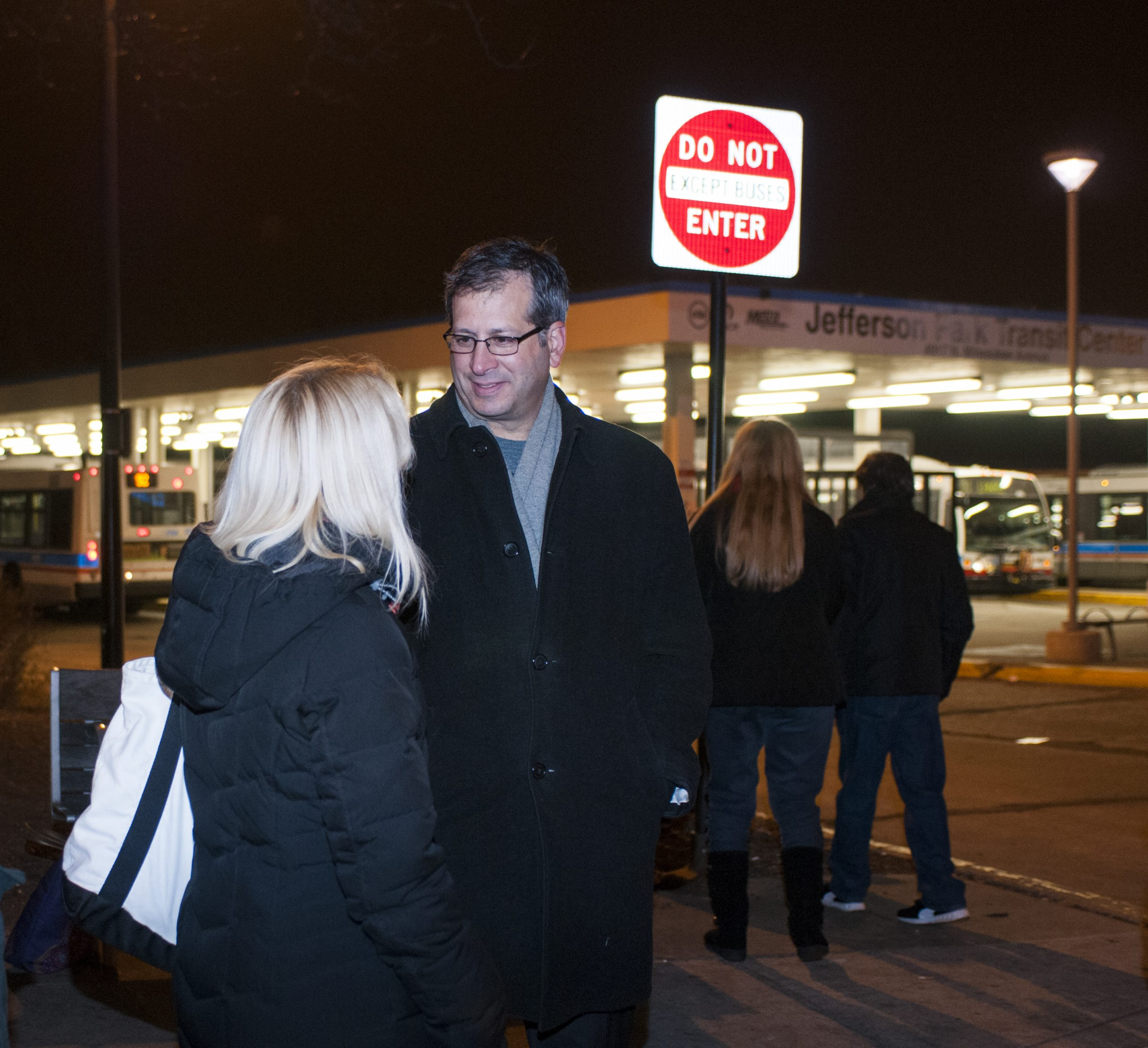 45th Ward alderman John Arena speaks with constituents at a Jefferson Park Forward event Monday.