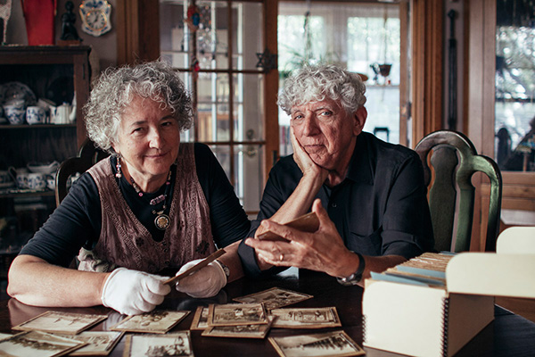 Jerri Zbiral and Alan Teller with their 130 found photos
