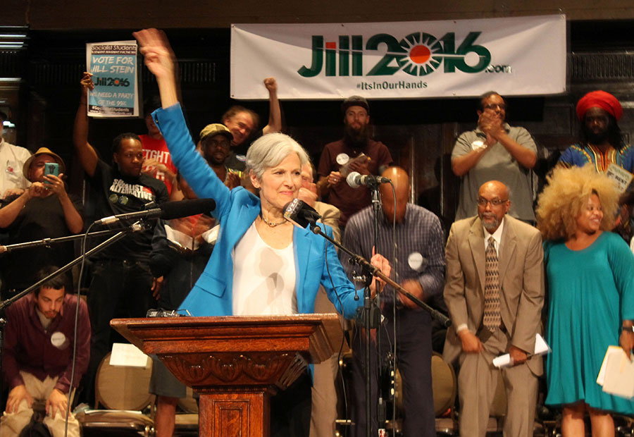 Jill Stein spoke at a Green Party rally in Uptown last Thursday.
