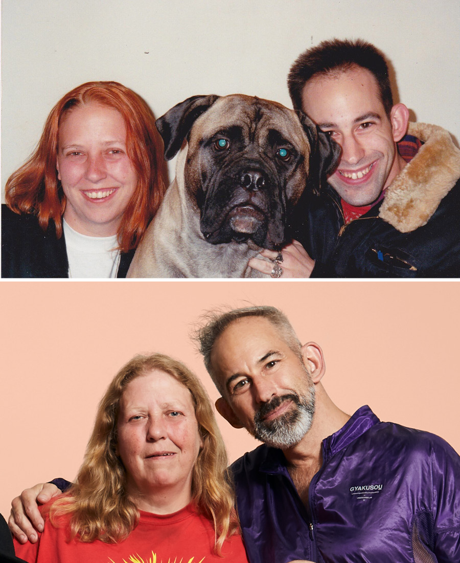 Homocore Chicago founders Joanna Brown and Mark Freitas in the early 90s (with G.B. Jones's dog, Big Ethel) and today