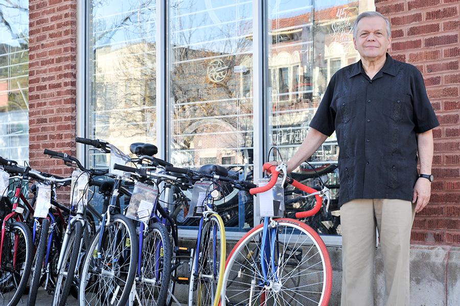 José López in front of West Town Bikes/Ciclo Urbano