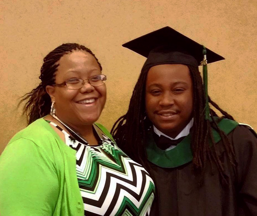Tiffaney Boxley with son Joshua at his graduation from Ivy Tech Community College in spring 2015