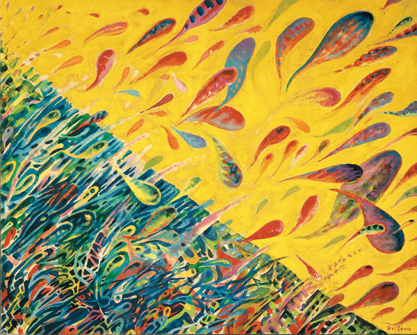 The Art of Dr. Seuss Gallery exhibits Ted Geisel's fine-art paintings, including The Joyous Leaping of Uncanned Salmon.