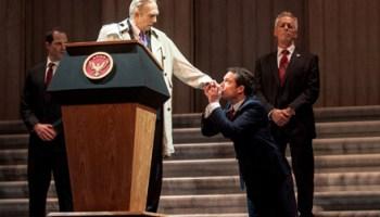 Jason Kolotouros, David Darlow, John Light, and Larry Yando in <em>Julius Caesar</em>
