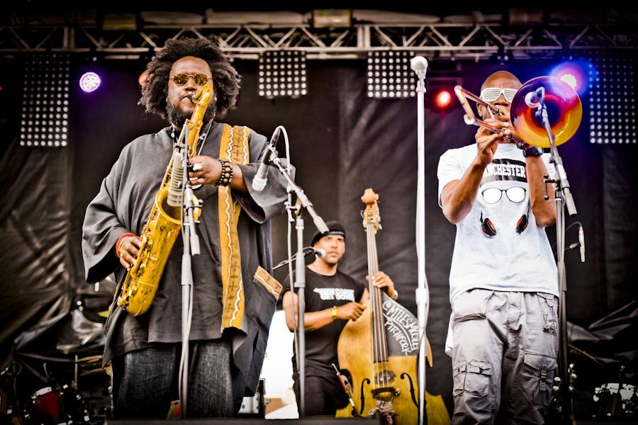 Kamasi Washington (left) and bandmembers