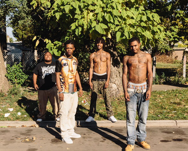 """Travon """"Lil Kemo"""" Biggs (second from left) with the members of west-side rap group M.I.C: Lil Chris, Mikey Dollaz, and I.L Will"""