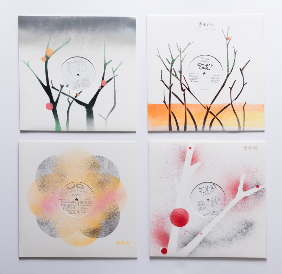 Kimochi's visuals are the work of designer and label partner Aaron Shinn, who creates the stencils that Max uses to spray-paint every record sleeve.