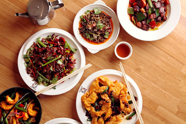 Clockwise from left: Hunan pork liver, tai gan Hunan style, Chairman Mao's favorite pork belly, dry chile tilapia fillet