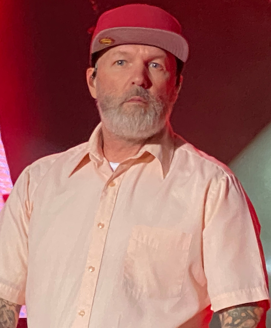 Fred Durst of Limp Bizkit performing in July 2021 at Festival of the Lakes in Hammond, Indiana.