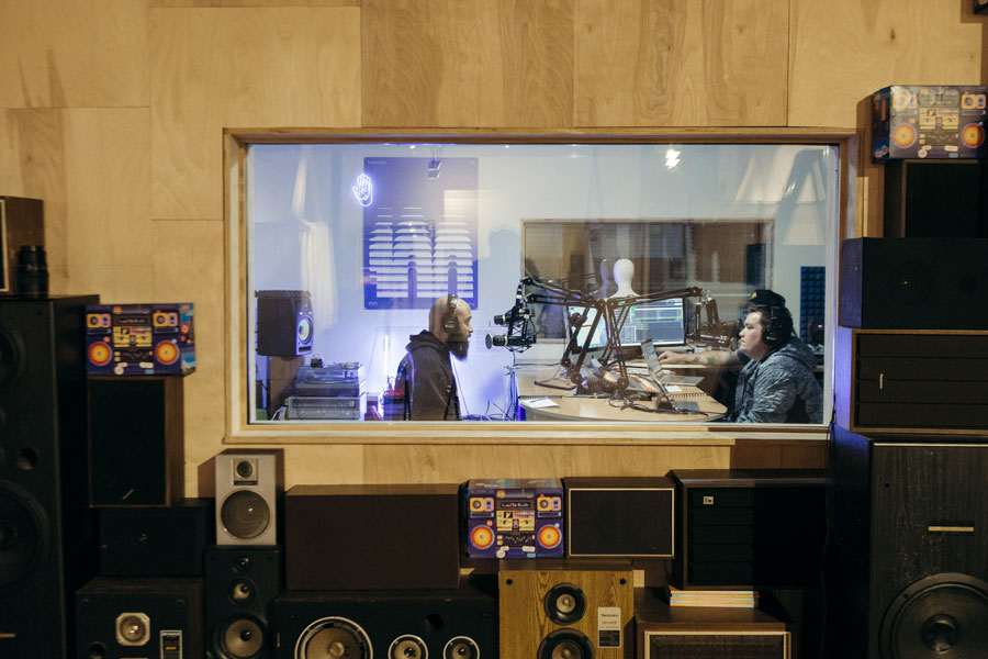John Daley (right) in the Lumpen Radio studio for an episode of his weekly talk show, <i>Radio Free Bridgeport</i>