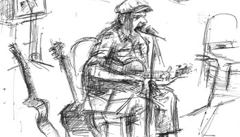 Because Jeff Mangum prohibits photography at his shows, Dmitry Samarov sketched him while he sang