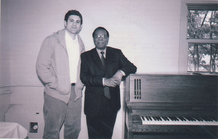 Matthew Rivera of Bless the Mad (left) circa 2007 with pianist Ken Chaney of the Awakening, in Jackson Park where Chaney was teaching lessons