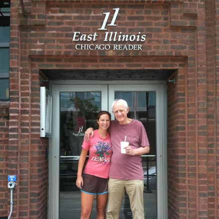 Michael Miner and his daughter Laura in front of the Reader's old offices.