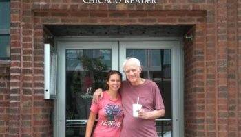 Michael Miner and his daughter Laura in front of the <i>Reader</i>'s old offices.