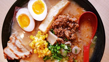 The Hokkaido-style <i>kome</i> ramen, with its rice-and-soybean miso base, produces the deepest, most full-bodied broth on the menu.