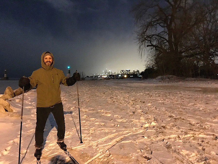 The author skiing at Montrose Harbor