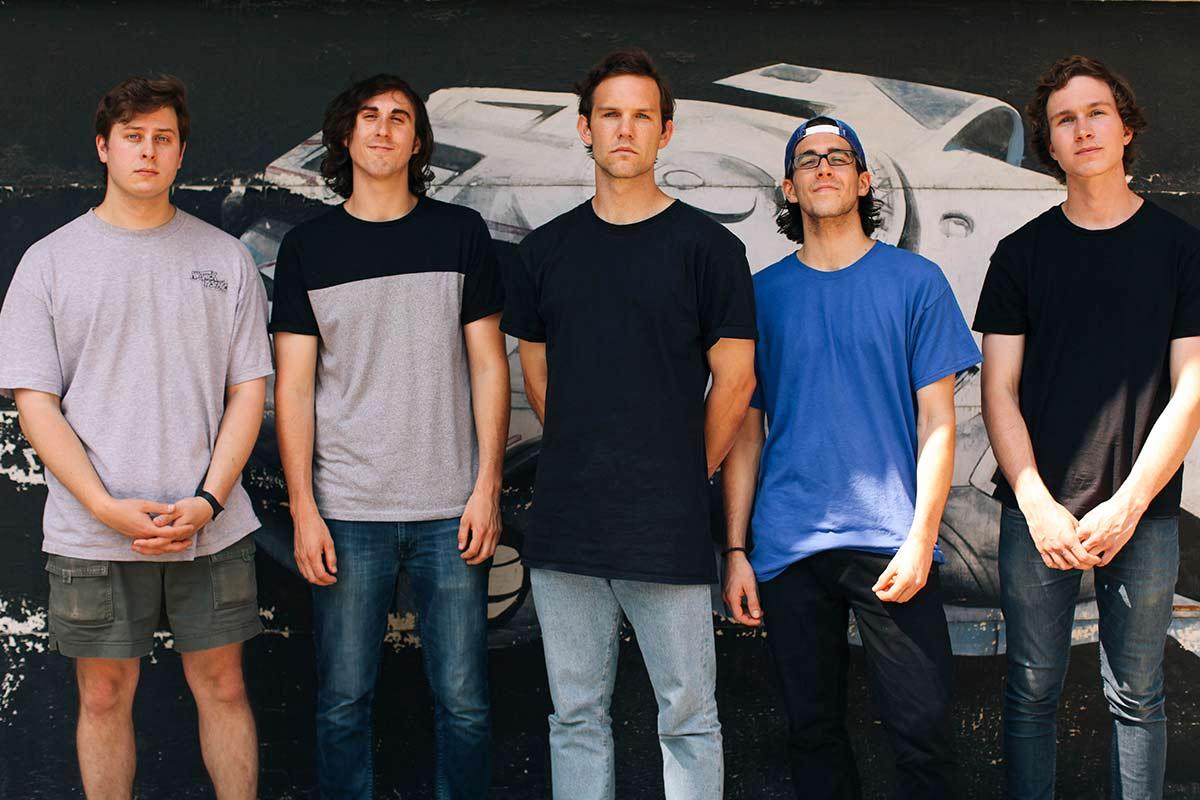 Knuckle Puck, from left: guitarists Kevin Maida and Nick Casasanto, drummer John Siorek, vocalist Joe Taylor, and bassist Ryan Rumchaks