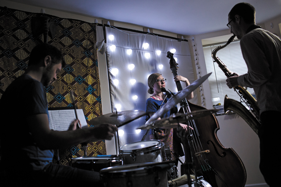 Andrew Green, Katie Ernst, and Dustin Laurenzi, aka Twin Talk, rehearsing at Green's place