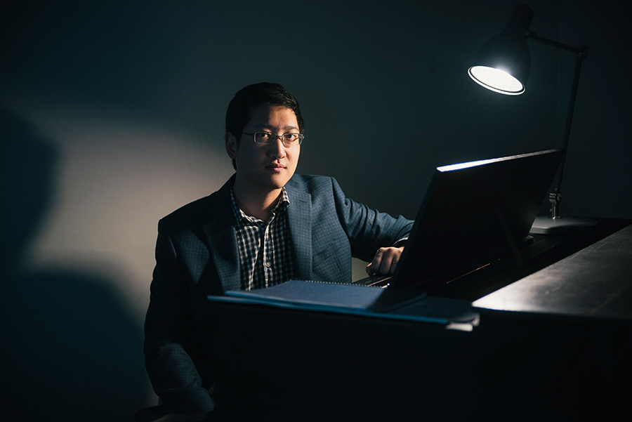 Award-winning composer (and University of Chicago professor) Anthony Cheung at his piano; he performed at this year's Ear Taxi Festival.