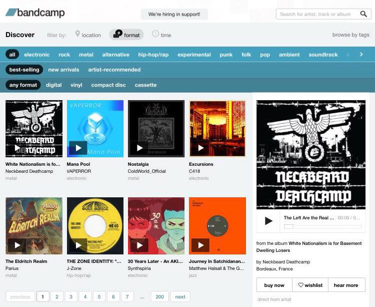 Evidence that Neckbeard Deathcamp at least briefly had the best-selling release on Bandcamp