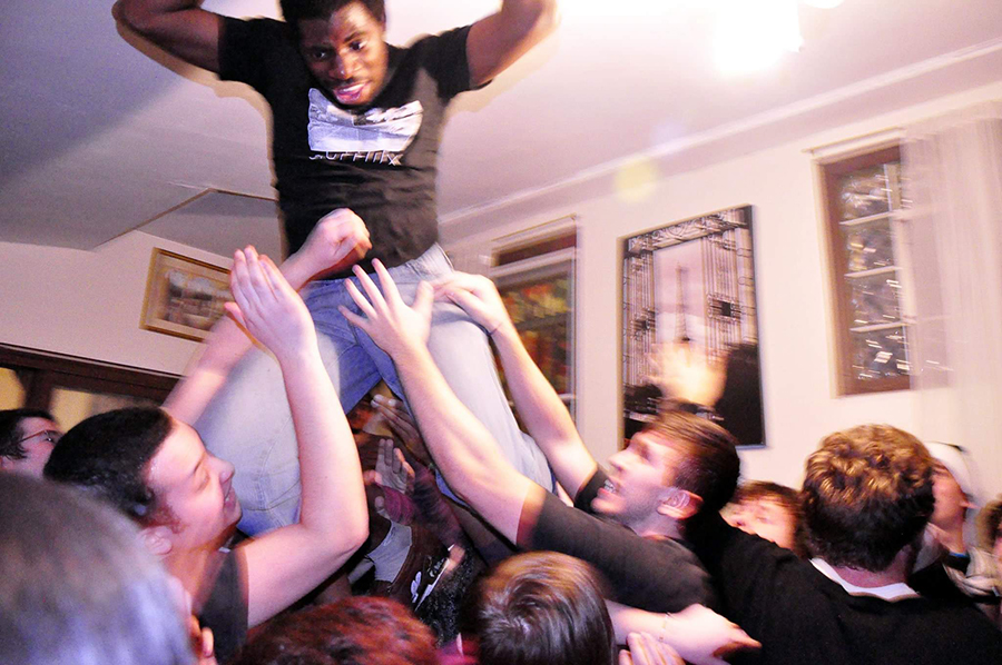 Nnamdï enjoys the support of the crowd during a 2011 show in his family's home, aka Nnamdi's Pancake Haus.