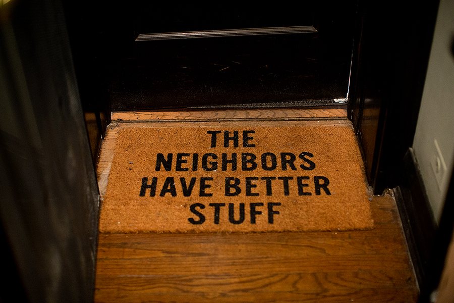 After experiencing a burglary, Hardy, who lives in a part of the building with several apartments owned by absentee landlords, bought a new doormat.