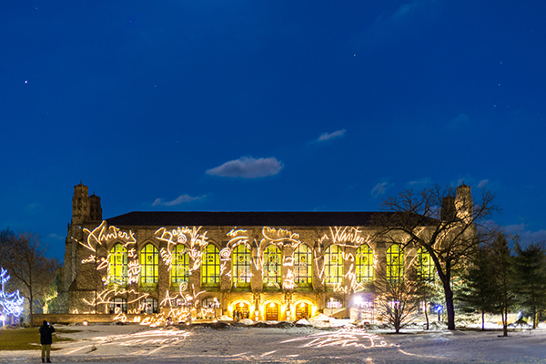 Installation by Marco Rotelli illuminates Deering Library at Northwestern University