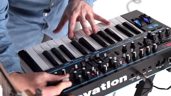 Screen shot from a promo video for the Novation Bass Station II