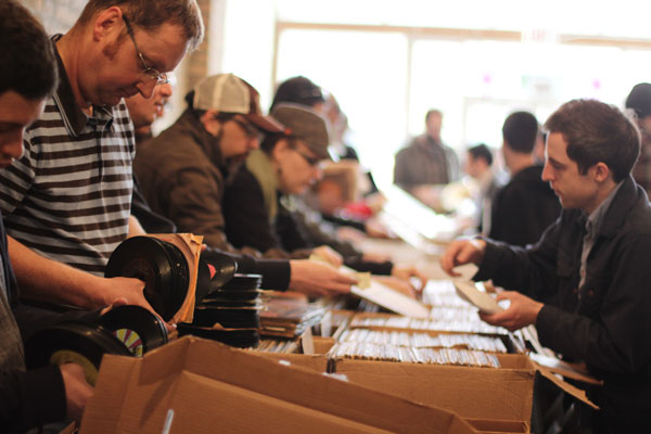 Customers shop at Numero Group's pop-up store in Wicker Park