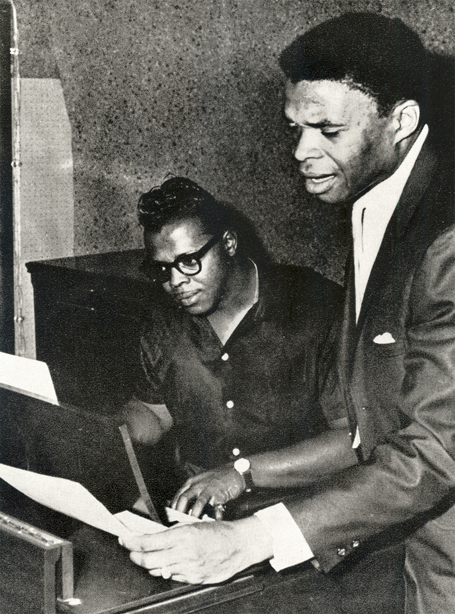 Chicago soul artists Harold Burrage (left) and Otis Clay at One-derful Records in the mid-1960s. Both men recorded for the label, though Burrage appeared on its M-Pac! imprint.