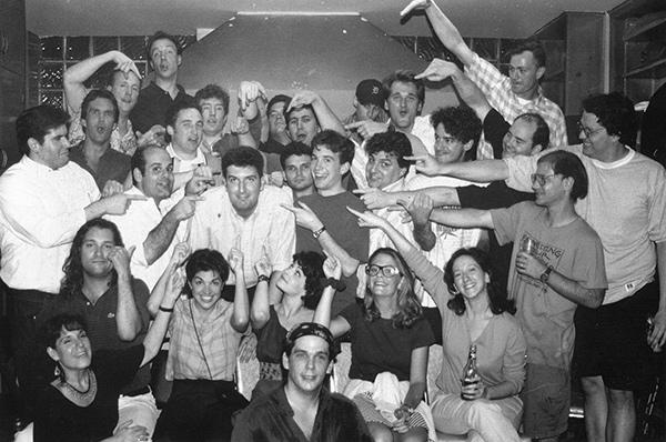 Halpern, lower left, circa 1995 with the original Armando cast, including Matt Besser, Jimmy Carrane, Armando Diaz, Peter Gwinn, David Koechner, Susan Messing, Brian Stack, and Matt Walsh