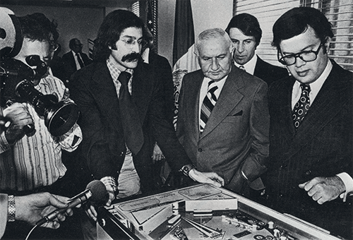 Roger Sharpe demonstrates that pinball is a game of skill to the New York City Council in 1976.
