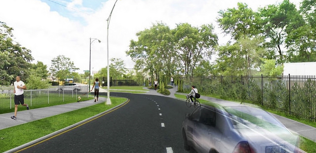 A CDOT rendering of the western trailhead of the Paseo (center) at 32nd and Central Park.