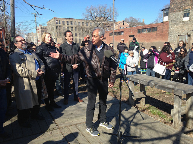 Emanuel announced the Paseo plan at a  groundbreaking ceremony Sunday.