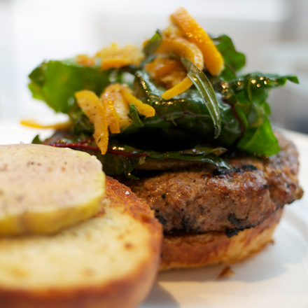 Coriander-spiced duck burger with candied apricots