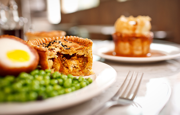 Chicken balti royal pie and Scotch egg at Pleasant House Bakery